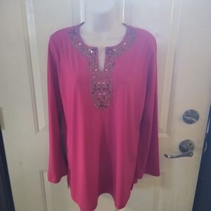 Susan Graver Pink Jeweled Split Neck Blouse
